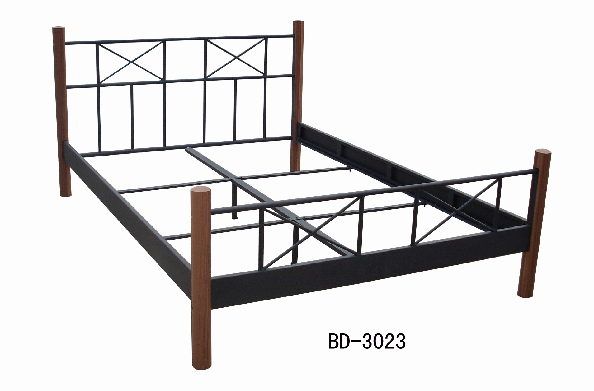 Metal Bed with wood post—BD-3023