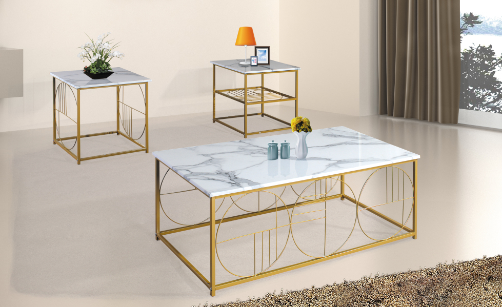 Marble top 3 pc rectangle coffee table set