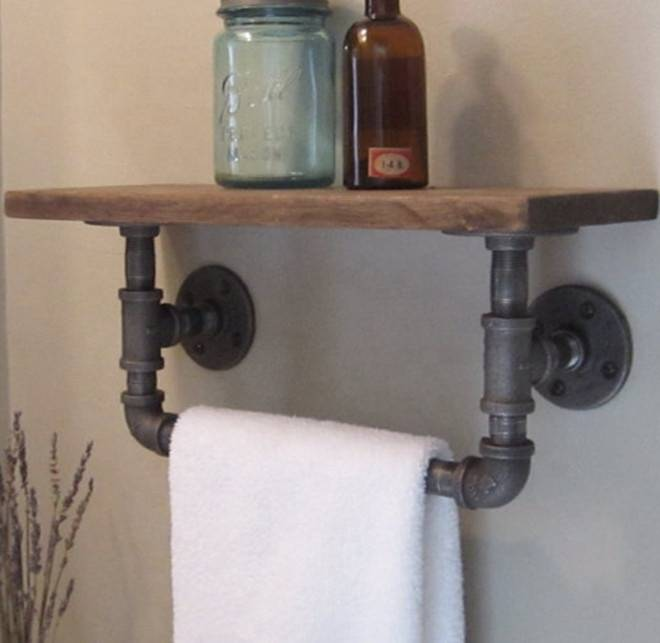 DIY storage shelves metal shelf truck pipe shelf with malleable iron pipe fittings