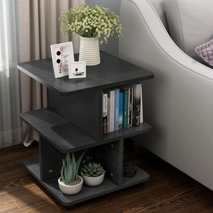 Modern Side End Table for Living Room, 3 Tier Bedside Table Night Stand with Wheels and Storage Shelf for Bed Room (Black)